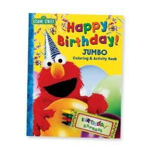 Elmo Happy Birthday Jumbo Coloring Book with Crayons (1) Party