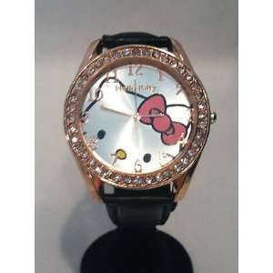 HTF Gold Colored Hello Kitty Watch w/Black Leather Strap