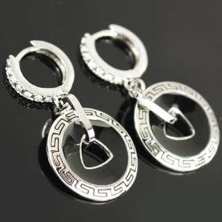 white Gold GP Swarovski Crystal Dangle Hoop black enamel round Earring