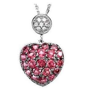 Endearing Brazilian Garnet & Diamond Heart Pendant set in 14 kt White