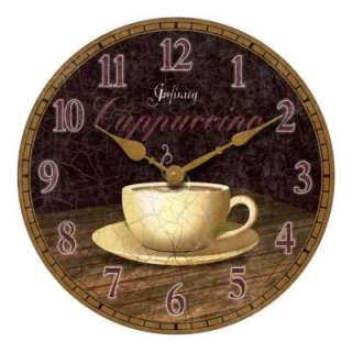 NEW 14 in. Round Coffee Cup Brown Kitchen Wall Clock