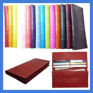 Luxury Genuine Eel skin Leather Slim Wallet with coin Purse Wallet 15