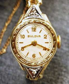 1950S 10K ROLLED WHITE GOLD FILLED BULOVA LADIES 17 JEWEL WATCH