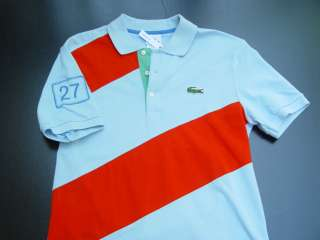 LACOSTE MODERN FIT BLUE RED DIAGONAL STRIPE POLO SHIRT NWT M   3XL