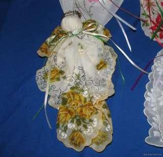 Handkerchief Hankie Angel Christmas Ornaments Roses Poinsettias 4