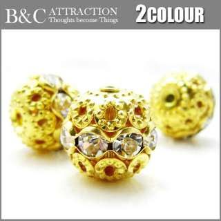 10PCS plaste gold silver Crystal Rhinestone Spacer Loose Beads Flower