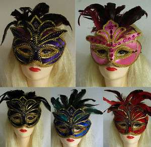 MASK Eye Venetian Feather Black Blue Pink Purple or Red