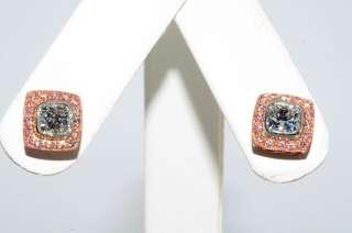 55CT NATURAL FANCY PINK & WHITE DIAMOND CLUSTER EARRINGS VS