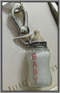 JUICY COUTURE SILVER EDITION PAVE PINK BABY BOTTLE CHARM NIB