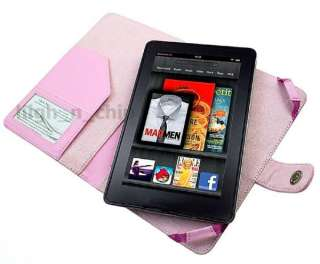 Quality Leather Case Cover Sleeve for  Kindle Fire PINK