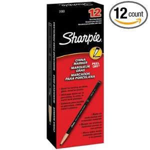 Sharpie Peel Off China Markers; Color Black; 12/box