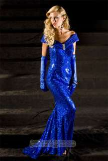 Royal Blue Off Shoulder Fully Sequined Evening Prom Gown With Matching