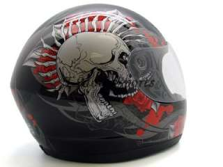 FULL FACE MOTORCYCLE STREET HELMET BLACK SKULL ROSE ~XL