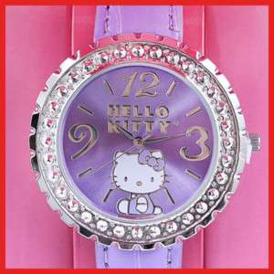 Sanrio Hello Kitty Wrist Watch w/Stone Purple License