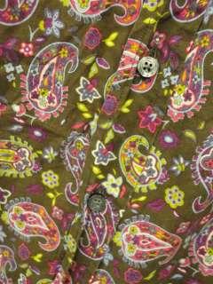 Mens ETRO Brown Paisely Cotton Dress Shirt Sz 44 L large