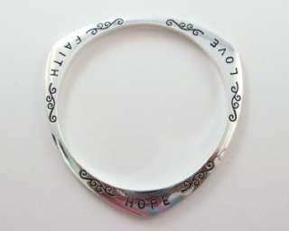 New 925 Silver FAITH HOPE & LOVE Bangle Bracelet