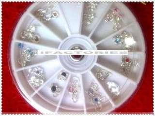 Mixed Design Nail Art Acrylic Tips Glitters Metal Rhinestones Wheel