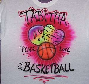 PEACE, LOVE, & BASKETBALL AIRBRUSHED T SHIRT NEW PERSONALIZED. ADULT