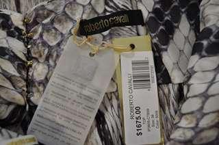 New $1675 Roberto Cavalli Dress Snake Skin Print Sz 38