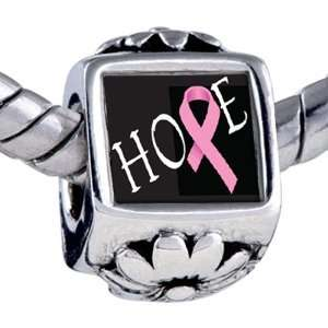 Pandora Style Bead Hope Pink Ribbon Awareness Beads Fits