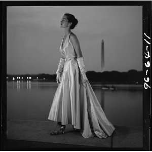 Fashion model posing,evening gown,dusk,Tidal Basin