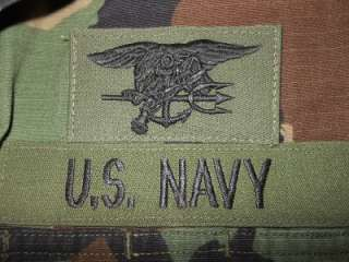 Navy SEAL Trident Patch Woodland Camoflauge BDU Field Shirt NSW