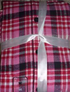 NWT Joe Boxer Women BEARS PINK PLAID FLOWERS Flannel Pajamas PJs Set S