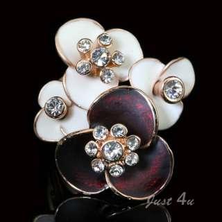 18K RG GP Swarovski Crystal Flower Enamel Ring