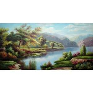 Peaceful and Colorful Lake Scene Oil Painting 24 x 48