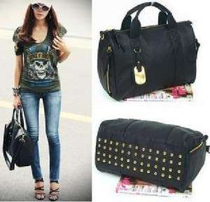 Western Women Punk Studded Shoulder Bag Tote Handbag xK