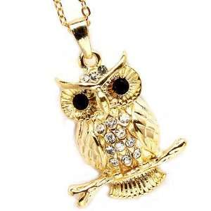 Fancy Small Gold Tone Owl with Clear Crystals Charm Pendant Necklace