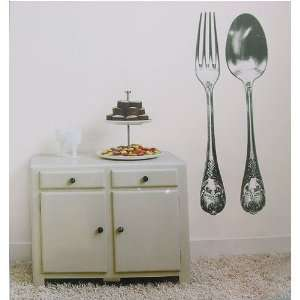 Fork and Spoon Wall Sticker Removable  Temporary Large Scale