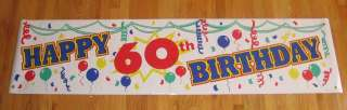 TWO(2) Happy 60th Birthday Colorful Banners FREE SHIP