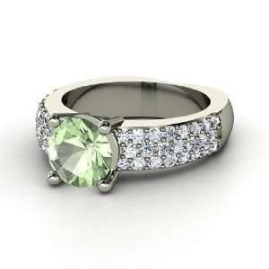 Mackenzie Ring, Round Green Amethyst 14K White Gold Ring