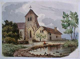 MINIATURE WATERCOLOR PAINTING 1830 SMALL VILLAGE CHURCH