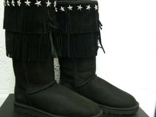 JIMMY CHOO UGG BLACK FRING boots suede STAR STUDS