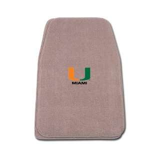 Beige Universal Fit Front Two Piece Floormat with NCAA Miami Logo