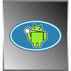 Android Logo Eating an Apple Droid Funny Vinyl Euro Decal