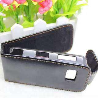 Black Flip Leather Case Cover Pouch For Nokia Nuron 5230 5800