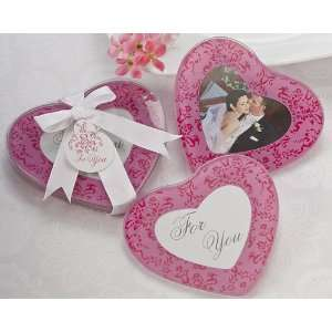 Keepsake Pretty in Pink Heart Glass Photo Coasters Set of 2 Baby