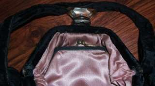 Vintage Black Velvet Purse With Gold Embelishment & Lucite Latch