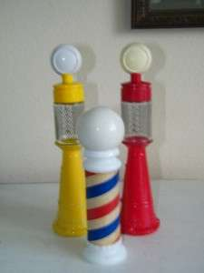 Vintage Lot Avon Remember When Gas Pump Barber Pole Cologne Bottle