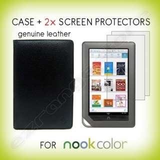 Leather Case Cover+ 2x Screen Protectors for Nook Color Tablet