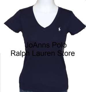 NEW POLO RALPH LAUREN WOMENS NAVY BLUE V NECK T SHIRT
