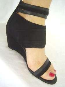 New NINE WEST Black CATCHMYEYE Leather Suede Wedge 5 6 7 8 9 10