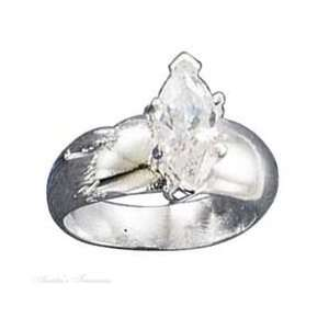 Sterling Silver Cubic Zirconia Wide Ring Size 5 Jewelry