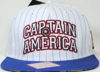 Licensed Marvel Comics Captain America White Pinstripe Snapback Cap