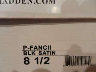 New Steve Madden Fancii Open Toe Sandals US 8.5 Black Satin Shoes