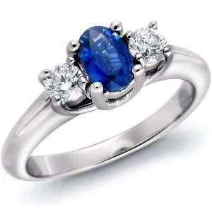 Platinum Oval Blue Sapphire & Round Diamond 3 Stone Ring