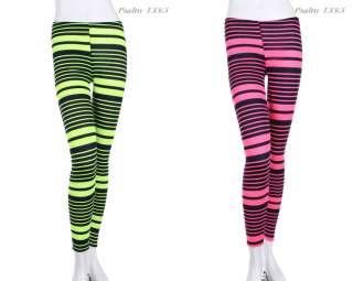 Neon Stripes Full Length Long Leggings Tights Skinny VARIOUS COLOR